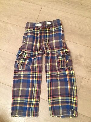 Mini Boden Checked Cargo Trousers 4yrs