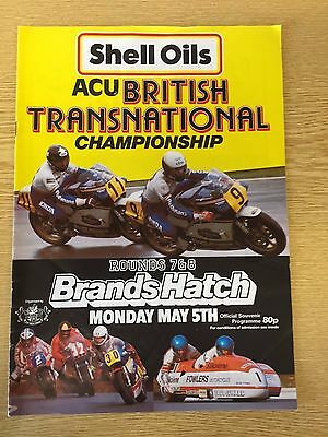 1986 ACU British Transnational Brands Hatch Motorcycle Races Programme
