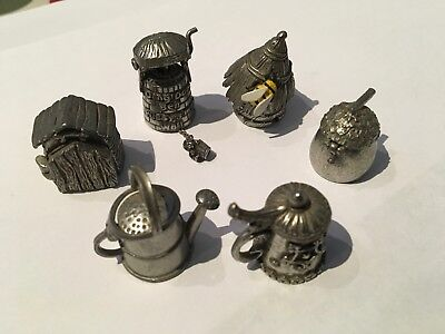 6 Collectable Pewter Thimbles