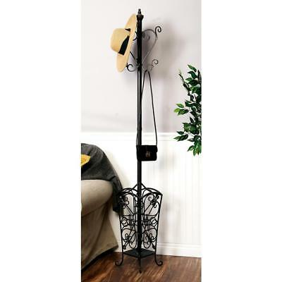 Standing Coat Rack 74 in. Classic Vintage Open Scroll Iron Finish Sturdy Metal
