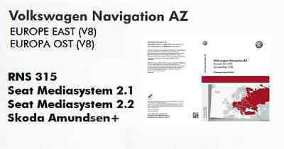 Volkswagen Skoda Seat Rns 315 rns315 2017 sd card map update V8 Europe East