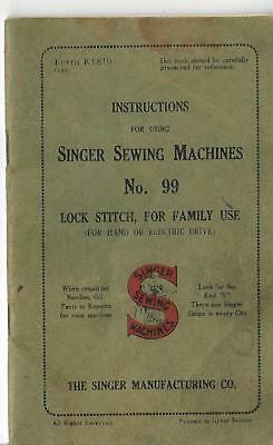 singer sewing machine book no 99 instruction book