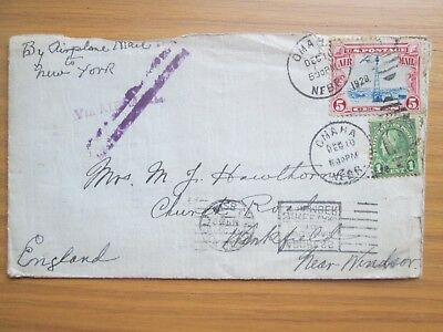 USA Omaha  1928 Cover Airmail Cover stamps to UK