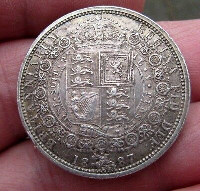 1887 Half Crown Sterling Silver Queen Victoria Initials Engraved Obverse