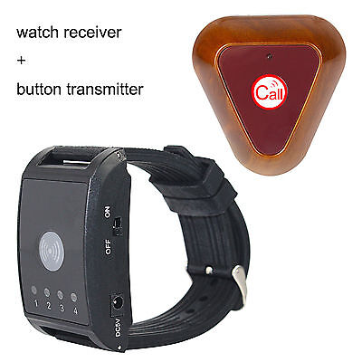 New !Wireless Watch Call Receiver Pager System Button Transmitter Vibrate 433MHz