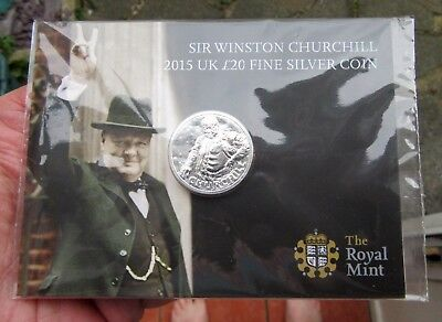 2015 £20 .999 Pure Silver Sir Winston Churchill