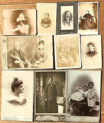 Lot of 10 x Victorian/Edwardian CDVs & Cabinet photographs, good variety