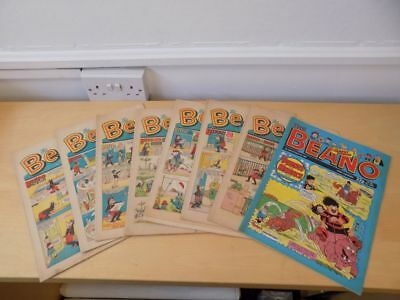 Lot of 8 Vintage BEANO Comics 1968 1969 1989