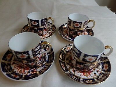 ROYAL CROWN DERBY IMARI PATTERN 4 X COFFEE CANS AND SAUCERS No 2451