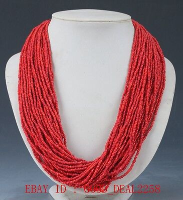 Collectibles Decorated Handwork Tibet Red Coral Necklaces XL035