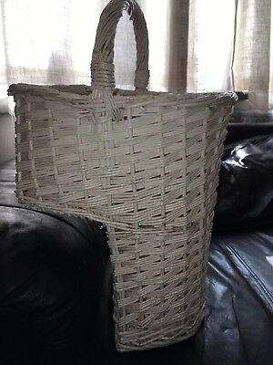 White Wicker Oval Stair Basket / Step Basket with Handle