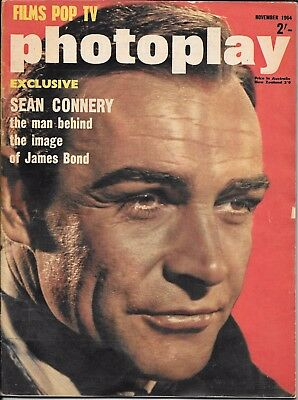 vintage photoplay magazine Nov 1964 James Bond Sean Connery cover & feature 007
