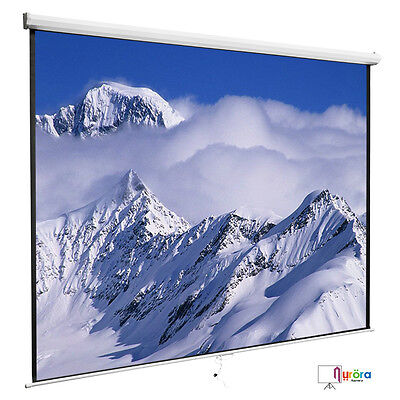 100'' 16:9 Manual Pull Down Projection Screen Projector Home Movie Matte White