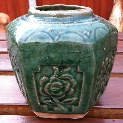 Antique Chinese Green Glaze Ginger Jar - Ming?