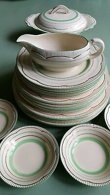 Clarice Cliff Art Deco 1930s Dinner Service Cream, Green & Gold bands