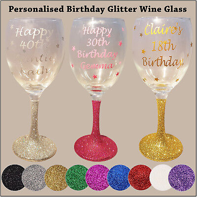 Personalised Glitter Wine Glass - Happy Birthday - 18th 21st 40th 50th Gift