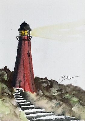 ACEO Original Art Watercolour Painting by Bill Lupton - Red Lighthouse