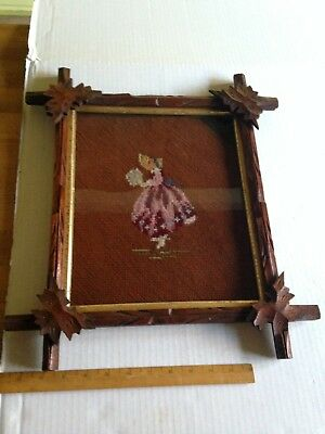 Antique Carved Leaf Black Forest Picture Frame with Cross Stitch 10 x 12""