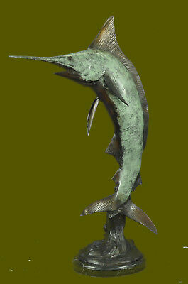 Signed Limited Edition Bronze Sailfish Swordfish Marlin Nautical Fish Statue NR