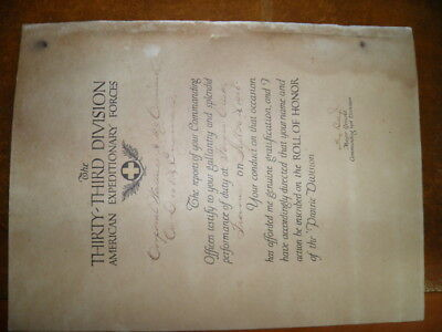 Rare Wwi Silver Star Citation Document To 108Th Engineers - 33Rd Division