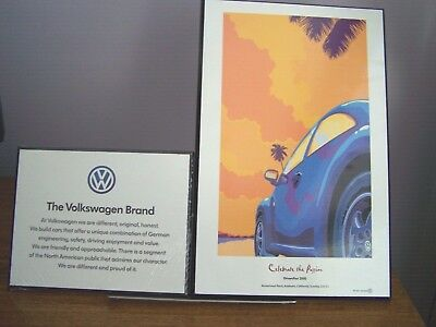 2pc. LOT OF VINTAGE VOLKSWAGEN DEALER SHOWROOM PLAQUES - EXCELLENT CONDITION
