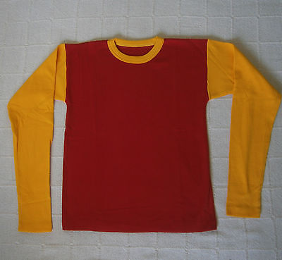 Vintage Long-Sleeve Stretch Top - Age 16-Teens - Red/ Yellow - Ribbed  - New