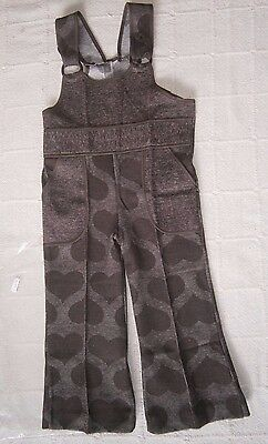 Vintage Stretch Flared Dungarees - Age 3 - 98 cm - Brown Hearts Design - New