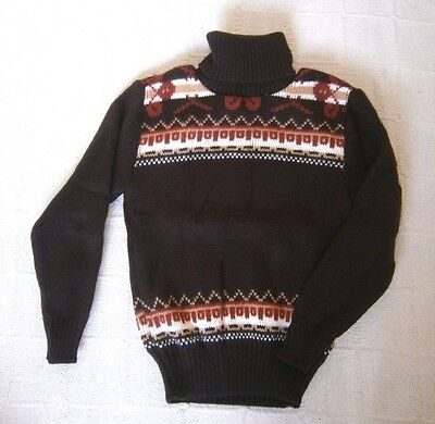 Vintage Polo-Neck Jumper - Age 8 Years Approx - Brown Chunky Fairisle -  New
