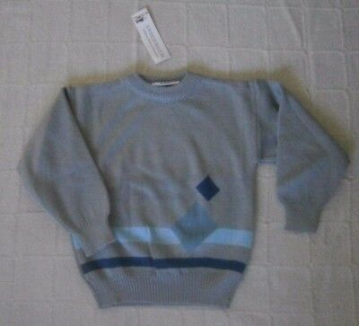 Vintage Crew-Neck Sweater - Age 5-6- GreyBlue - Windsor -  Acrylic - New