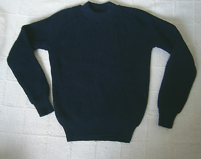 Vintage Crew Neck Jumper - Age 6-7 Years Approx - Navy Chunky-ribbed Acrylic-New