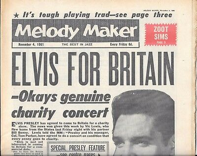 vintage Melody maker music paper Nov 4th 1961 Elvis to Britain cover story