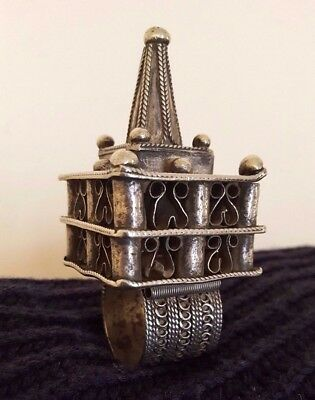 Antique Islamic Tribal Jewellery Moroccan Berber Solid Silver Hair Ornament 1920