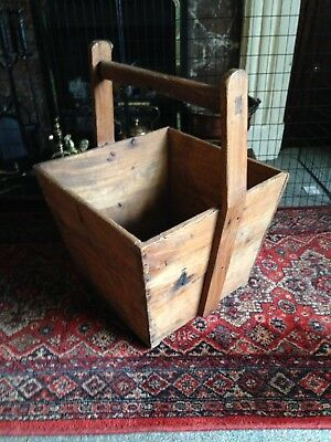 Large Rustic Heavy Wooden Log Box With Handle.