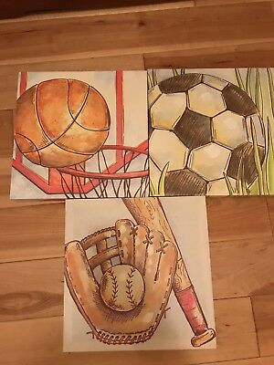 sports canvas wall art (Great for Boys Bedroom, New Baby Boy Room, Playroom)