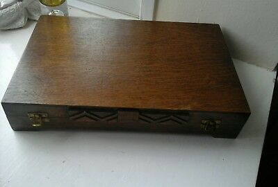 Vintage empty wooden cutlery box