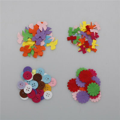 1set Mixed color Padded Felt button/Flower/bow-not/dragonfly Appliques DIY Pop