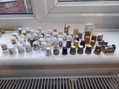 Collection Of 55 Various Thimbles Cloisonne Stanhope Enamel Glass Cloisonne Wood