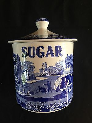 Rare Spode Blue Italian Large Sugar Jar With Lid.good Condition.