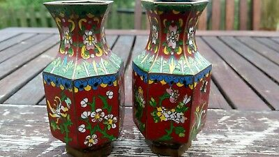 Vintage Chinese Cloisonne Miniture Vases Enamel 3 And A Half Inches In Height