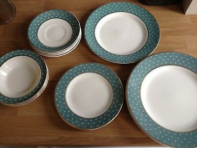 Ridgway Conway Green pattern selection of 22ct gold decorated plates bowls