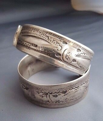 Antique Islamic North Africa 2 Berber Silver Tribal Jewellery Bangle Bracelet