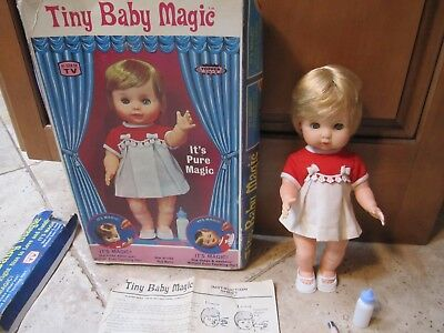 "Vintage1968 Topper Toy Tiny Baby Magic 11"" Doll With Box She Wets She Drinks"