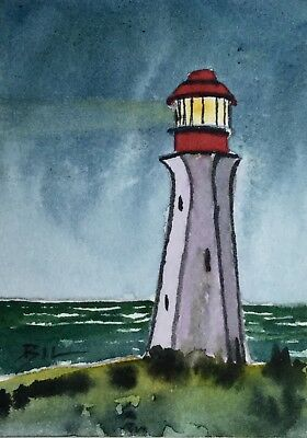 ACEO Original Art Watercolour Painting by Bill Lupton - Old Lighthouse