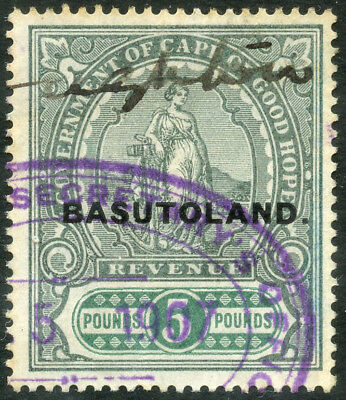 Basutoland £5 Short Overprint On Cogh 1898 Standing Hope  Revenue Fiscal Duty