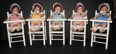 ♚ORIGINAL 1930's HTF Set of 5 Madame Alexander Dionne Quintuplet High Chairs