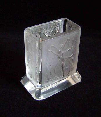Art Deco Spill Vase with Fairies in Frosted Cire Perdue Glass Lalique Style A/F