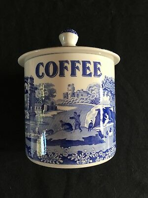 Rare Spode Blue Italian Coffee Storage Jar. Good Condition.