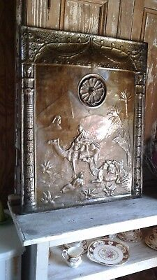 Antique Ornate Fireplace Screen Summer Cover ~ Camels Men Pyramid Sphinx 1800's