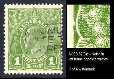 Australia - KGV 1d Green Variety 'Notch in Left Frame' BW 82(3)e C of A Wmk