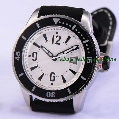 43mm Sterile Dial Sub Style Mens Automatic Watches Black Bezel Leather Strap 02